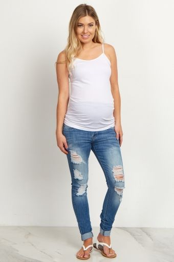 Blue Distressed Convertible Maternity Jeans