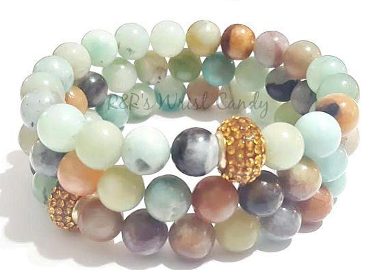 Natural Amazonite Gemstone Beaded Bracelet Stretchy
