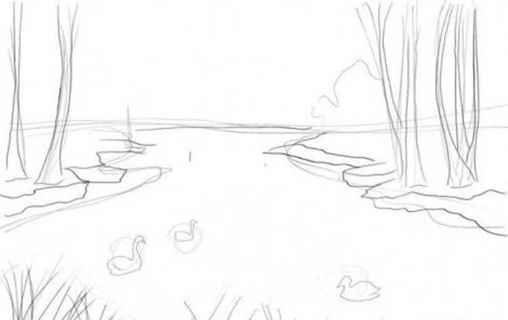 lake draw krok kroku po rysunek step rysunki drawing scene easy landscape drawings