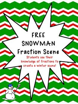 FREE! Students draw a picture of a snowman by solving the fraction task card instructions! Fun way to practice fractions!
