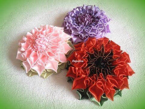 """Канзаши, как сделать красивые цветы из лент, лепесток """"завиток"""", МК - YouTube"""