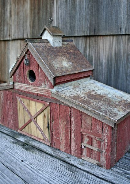 Barn with Rooster Weathervane Birdhouse