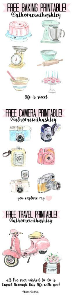 Free Printables- baking- life is sweet, camera- you capture my heart, and travel- all I've ever wished to do is travel through this life with you- Mindy Gledhill - at home with Ashley