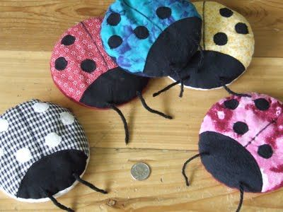 Boo-boo bugs! So much cuter than those boo-boo bunnies made out of washcloths that they had when I was a kid. Just fill with rice and they can be heated or chilled. Love them!
