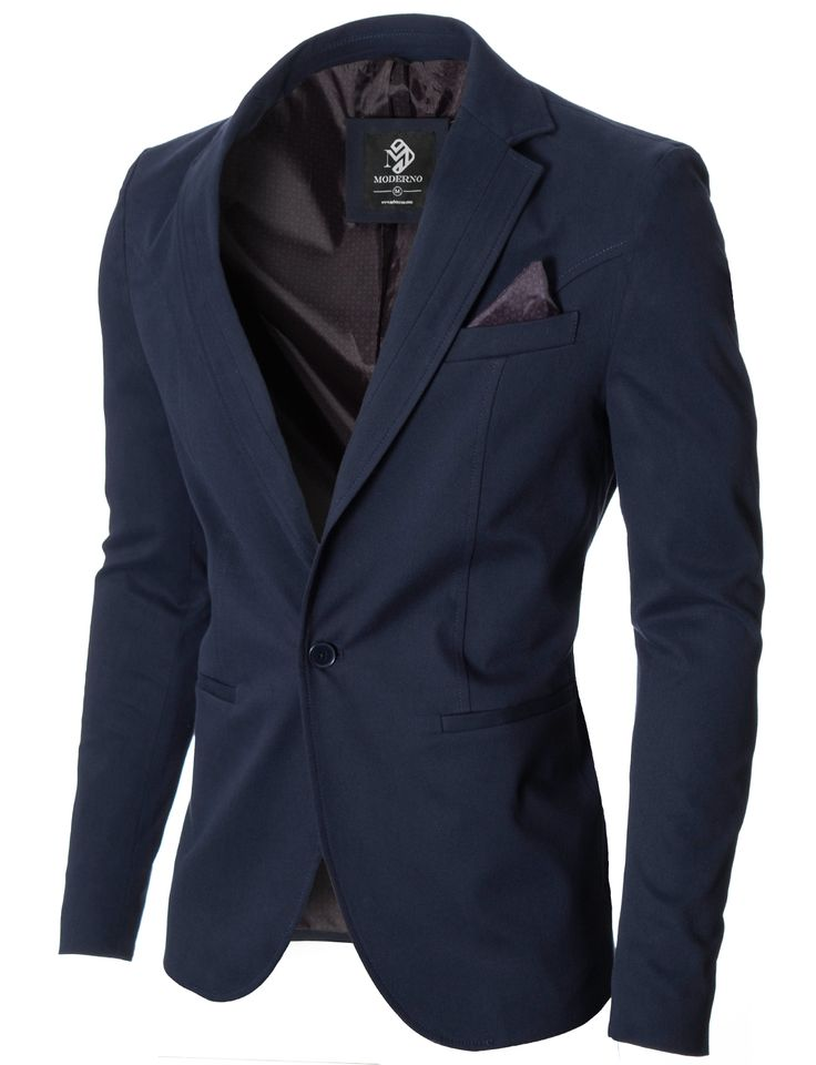 MODERNO Mens Business Slim Fit Blazer (MOD14519B) Navy