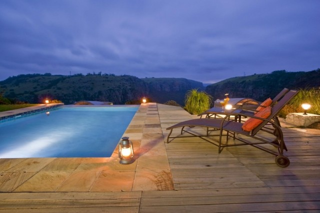 Pool deck -The Gorge Private Game Lodge & Spa . Quote and book http://www.south-african-hotels.com/hotels/the-gorge-private-game-lodge-and-spa/
