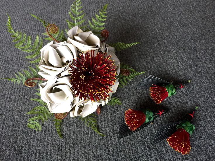 Pohutukawa brides bouquet & buttonholes by Flaxation.  www.flaxation.co.nz