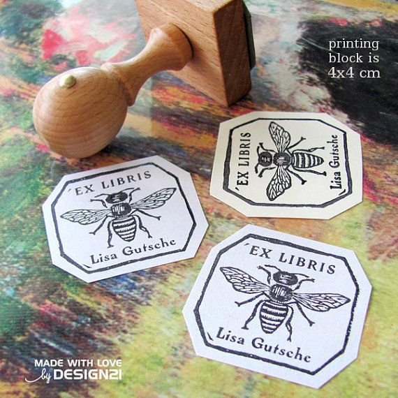 Bee: personalised stamp 4x4 cm by lida21 on Etsy