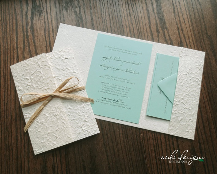 90 best my wedding images on pinterest wedding hair styles diy rustic destination pocketfold invitation kit eco friendly aqua with mulberry raffia sample junglespirit Gallery
