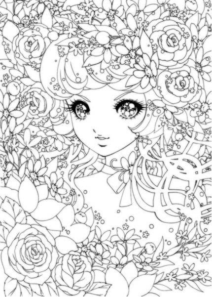Detailed Japanese Shoujo colouring pages Printables