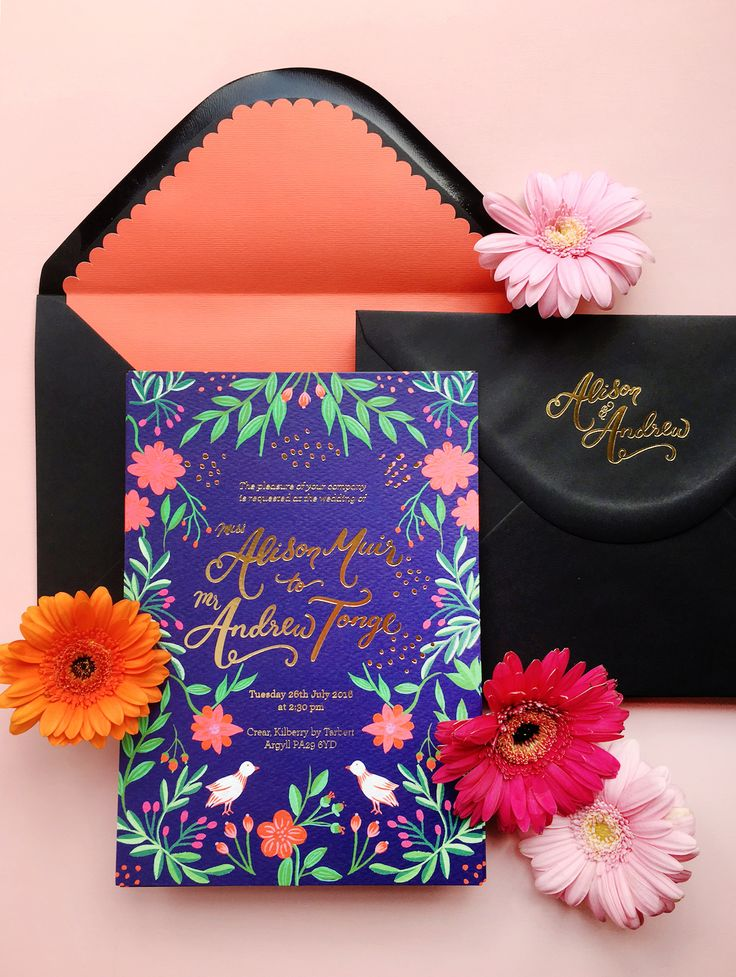 This bold and vibrant Mexican inspired wedding invitation looks incredible and so much fun.