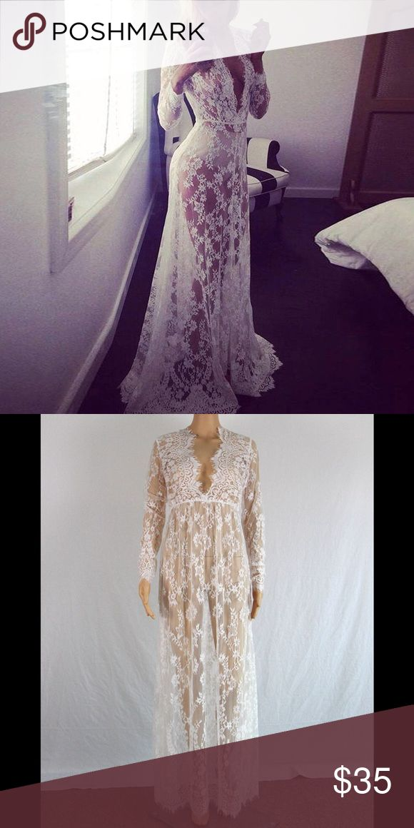 "RESTOCKING floral lace maxi gown Like for pre order. .Don't miss out on this sell out! Brand new, super sexy, feminine, and flirtatious, white lace gown. No trades. Dress has a small train in the back. Bust 33 ""waist 25"" length 63"" BRAND ONLY USED FOR EXPOSURE. ACTUAL Product being modeled. Dresses Maxi"