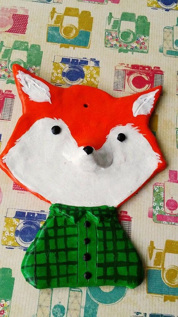 fox sculpey wall ornament home decor wall art