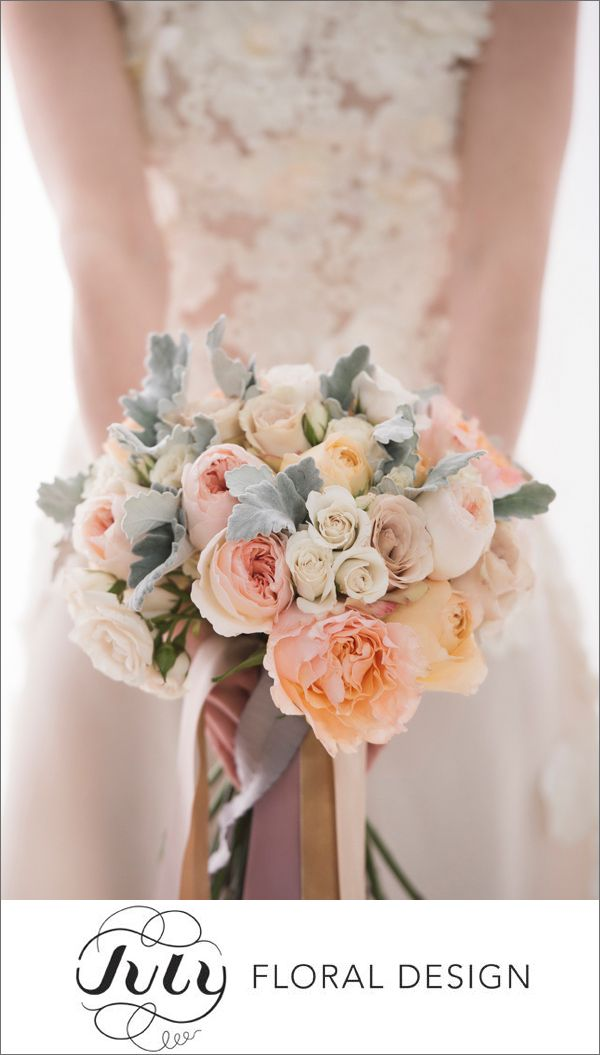 July Floral Design created this soft and romantic bouquet with tones of blush and peach. I adore the ribbon detail too! Photo by Brett Florens | via junebugweddings.com