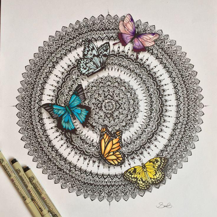 Hand drawn butterfly mandala by @samschroederart • INSTAGRAM: samschroeds