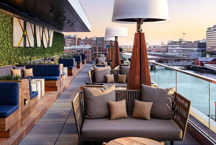 Rooftop Bar Boston Waterfront Hotel Restaurant The Envoy Hotel In 2020 Rooftop Bar Design Hotel Rooftop Bar Best Rooftop Bars
