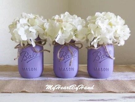 Purple Distressed Mason Jars, Wedding Mason Jars, Vintage Flower Vases,  Rustic Centerpieces, Baby Shower Centerpieces, Purple Nursery Decor