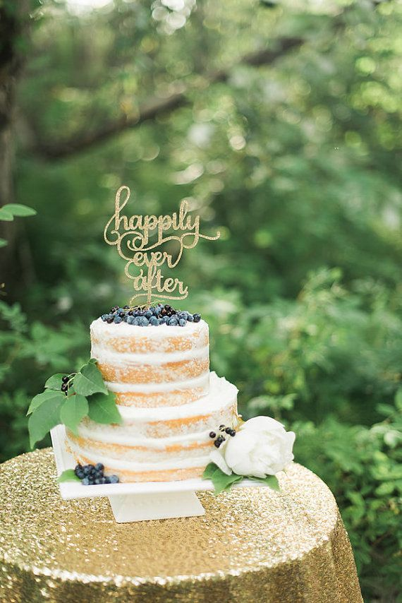 Cake Topper Wedding Happily Ever After Cake by CutsOfConfetti