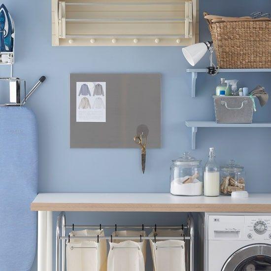 Blue utility room | Utility room storage idea | housetohome.co.uk