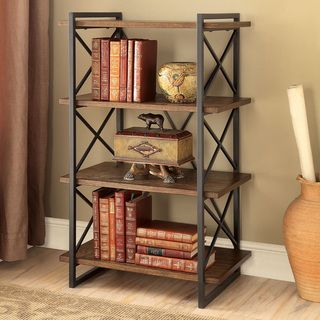 Add an edgy accent piece to your living space without compromising functionality. This display shelf features an industrial style framework with metal crisscross bars while wood shelves create four ea