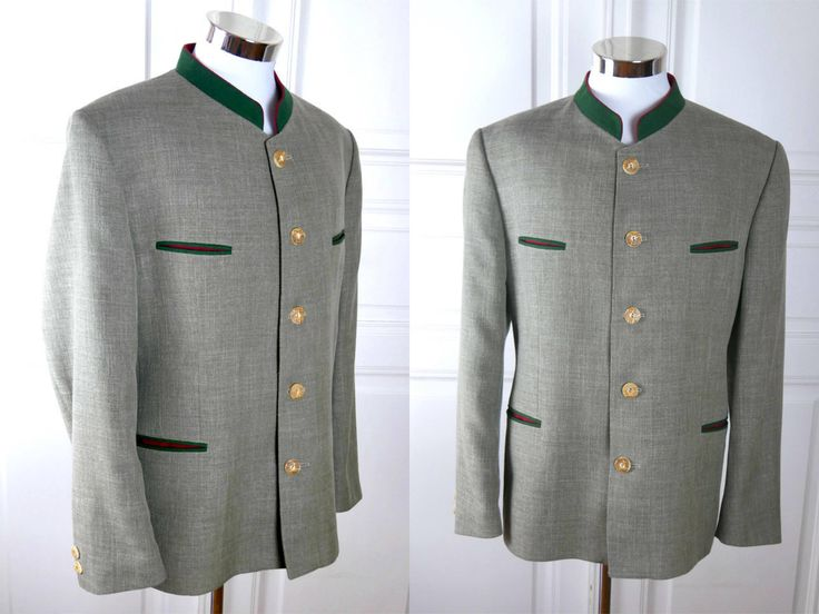 German Vintage Trachten Jacket, Heather Green w Forest Green and Red Trim Traditional Bavarian Blazer, Octoberfest Jacket: Size 44L (US/UK) by YouLookAmazing on Etsy