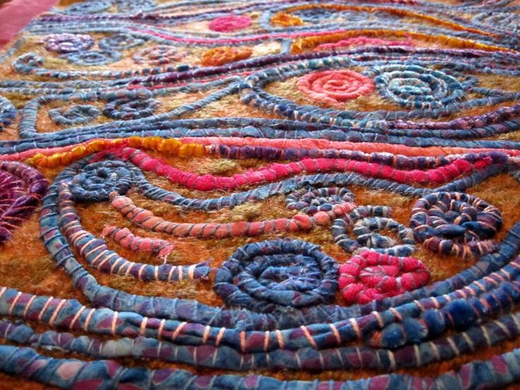 like the moon (from moon to sun)   by Judy Martin stitched art: felted wool with couched fabric