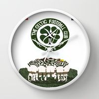 Wall Clock featuring Celtic Football Club  by jt7art&design