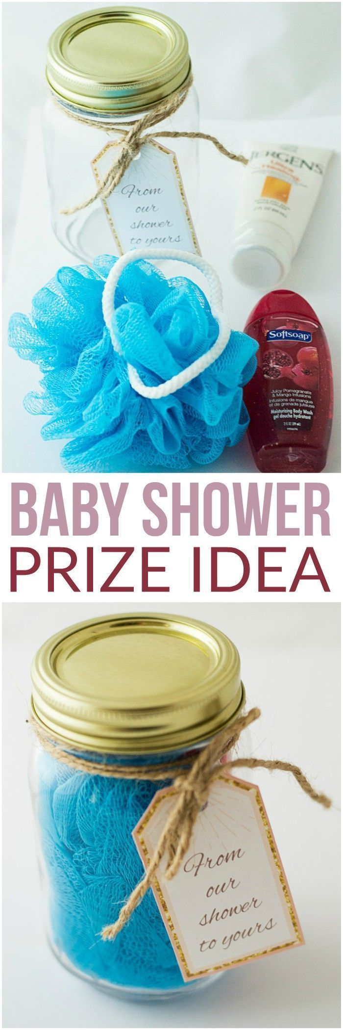 Cheap Baby Shower Prize Idea + Pink and Gold Baby Shower