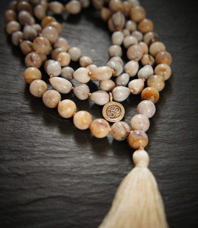108 Third Eye Chakra Mala, Lepidolite and Vaijayanti Yoga Necklace £50.00