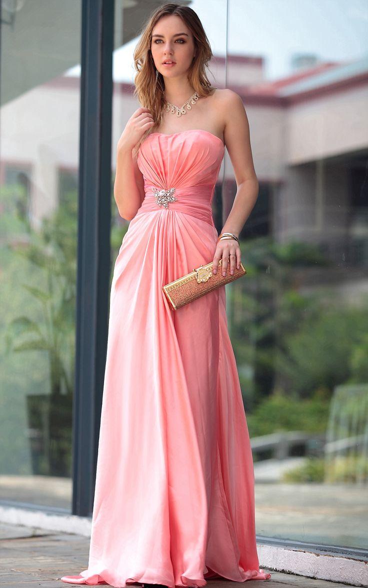 A-line Strapless Chiffon Peach bridesmaid dresses UK