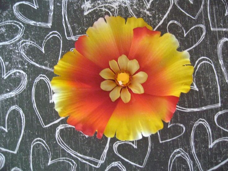 Orange and Yellow Sunset Fall Daisy Flower Hair Clip. $4.00, via Etsy.