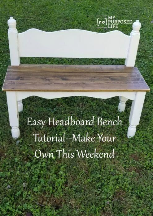 Peachy Twin Bed Bench Easy Headboard Bench Tutorial My Repurposed Evergreenethics Interior Chair Design Evergreenethicsorg