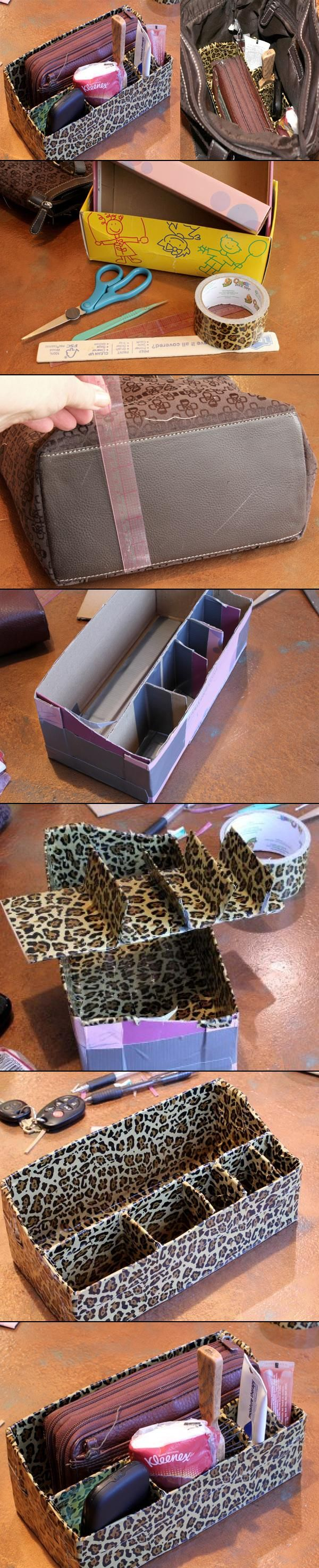 DIY Duct Tape Purse Organizer, by Me Makey Things. (The no-sew alternative to expensive Butler Bags!!)