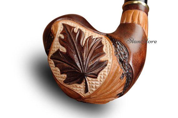 Tubo di fumo di mano Carved Maple leaf / 140 mm  55 di StanStore