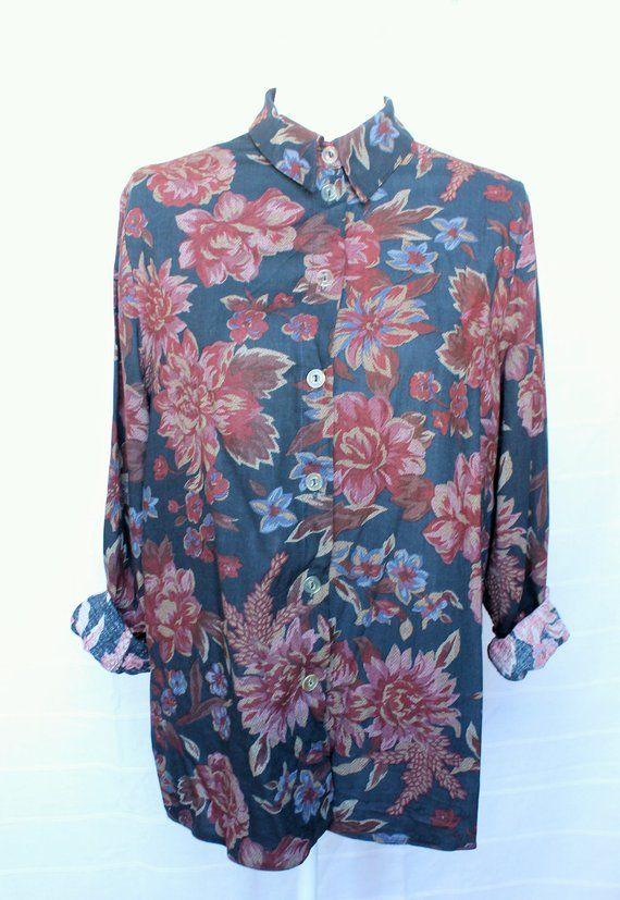c9ec978a9 80s floral shirt / Button up long sleeve shirt / Vintage couch print /  Floral couch grandma shirt / New age hipster unisex shirt / MEDIUM