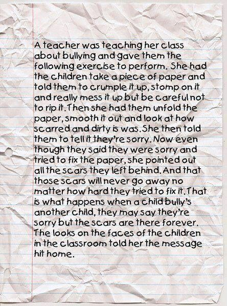 The Crumpled Piece of Paper--first day of school.... bullying