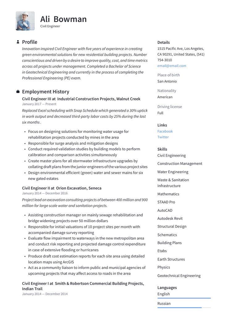 Civil engineer resume template engineering resume