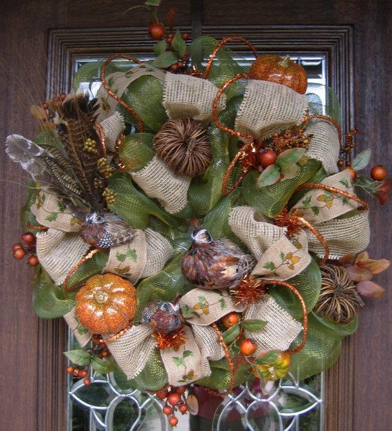 Nice Deco Mesh Fall Wreath QUAIL FAMILY In A PUMPKIN Patch By Decoglitz Good Looking