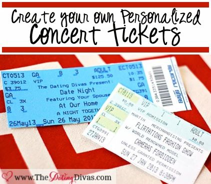 Create a personalized concert ticket invite to ask your spouse to your next date night.