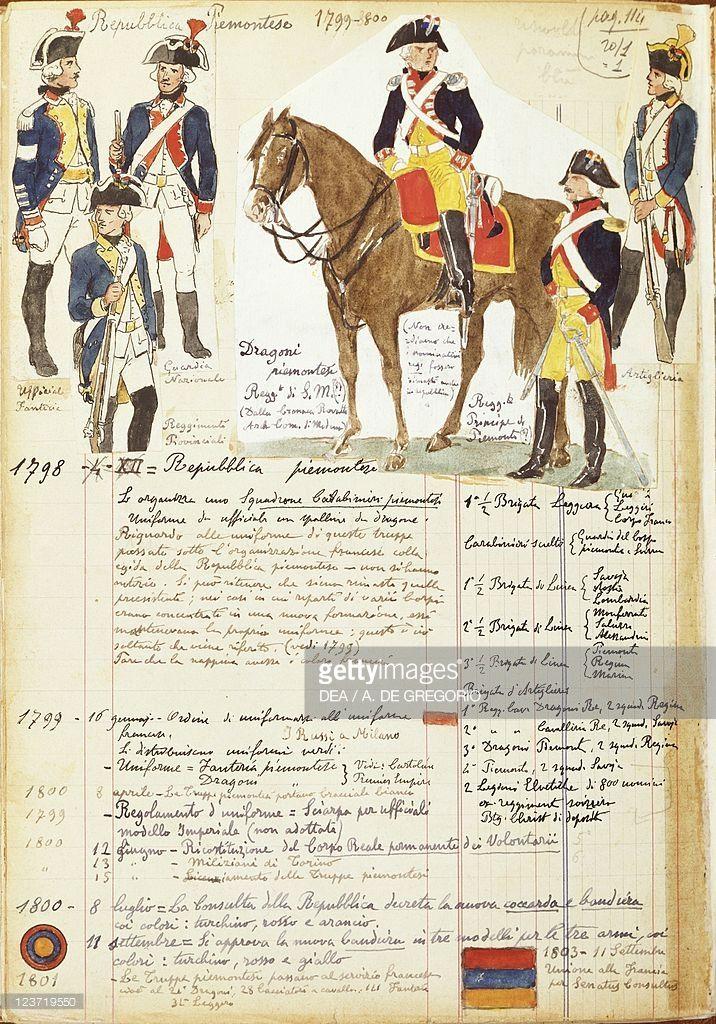 Foto stock : Military uniforms of Piedmontese Republic, by Quinto Cenni, color plate, 1798-1800