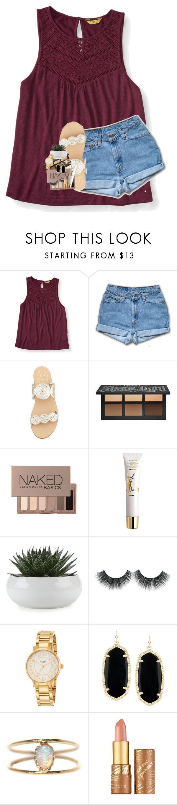 """2K!!"" by lindsaygreys ❤ liked on Polyvore featuring Aéropostale, Jack Rogers, Kat Von D, Urban Decay, Yves Saint Laurent, Kate Spade, Kendra Scott, LUMO and tarte"