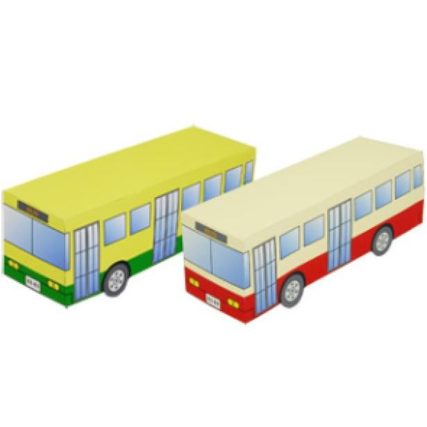 Bus,Toys,Paper Craft,yellow,vehicle,working vehicle