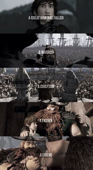 Gobber's eulogy for Stoick. I cried at this part. Why couldn't Hiccup have both parents???