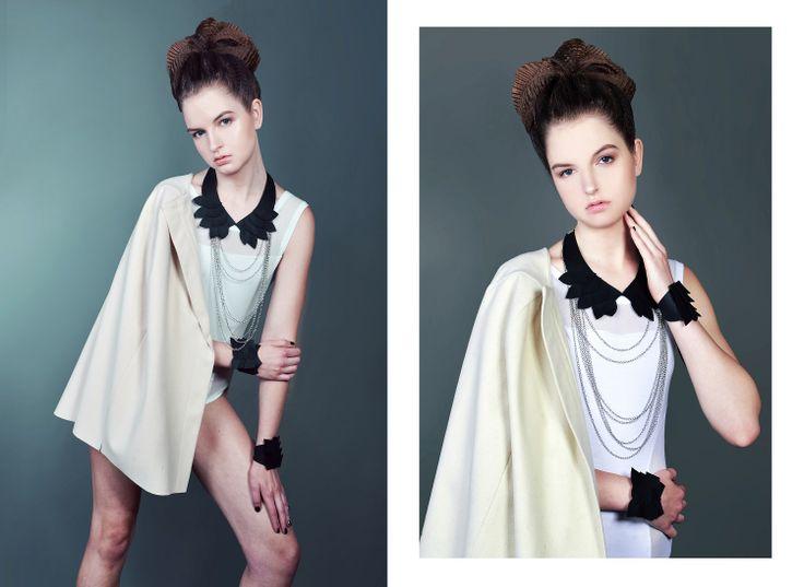 Photo: Orsolya Nagy Styling: Forgeron Model: Tündi /OMG/ MUA: Bernadett Pető Hair: Simon Wamberszky Hair Artist Assecories: csermakdesign ékszerek white body: Iner wonderLAB coat: INQ concept wonderLAB