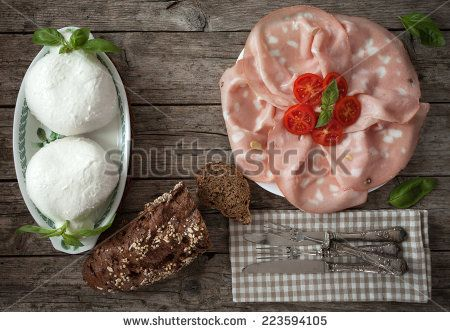 #Sliced #mortadella, #mozzarella and #wholemealbread with #seeds, #overhead shot. - #stockphoto #Shutterstock