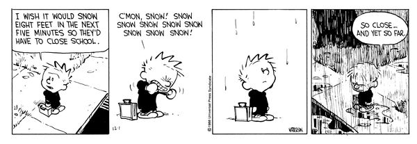 Calvin And Hobbes By Bill Watterson For December 01, 1988