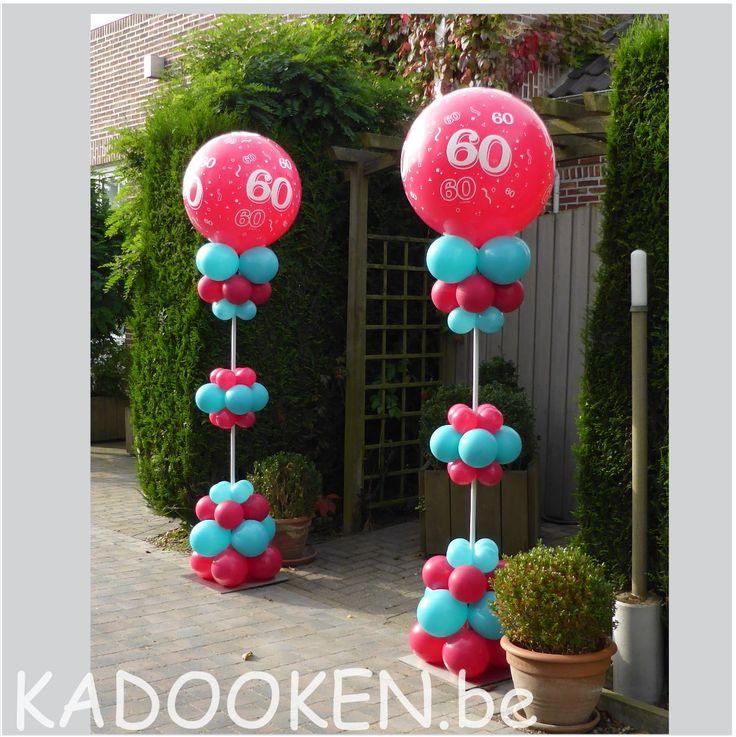 Decoratie verjaardag, 60 jaar, ballonnen, heliumballonnen, ballondecoratie, ballonshop dendermonde www.kadooken.be