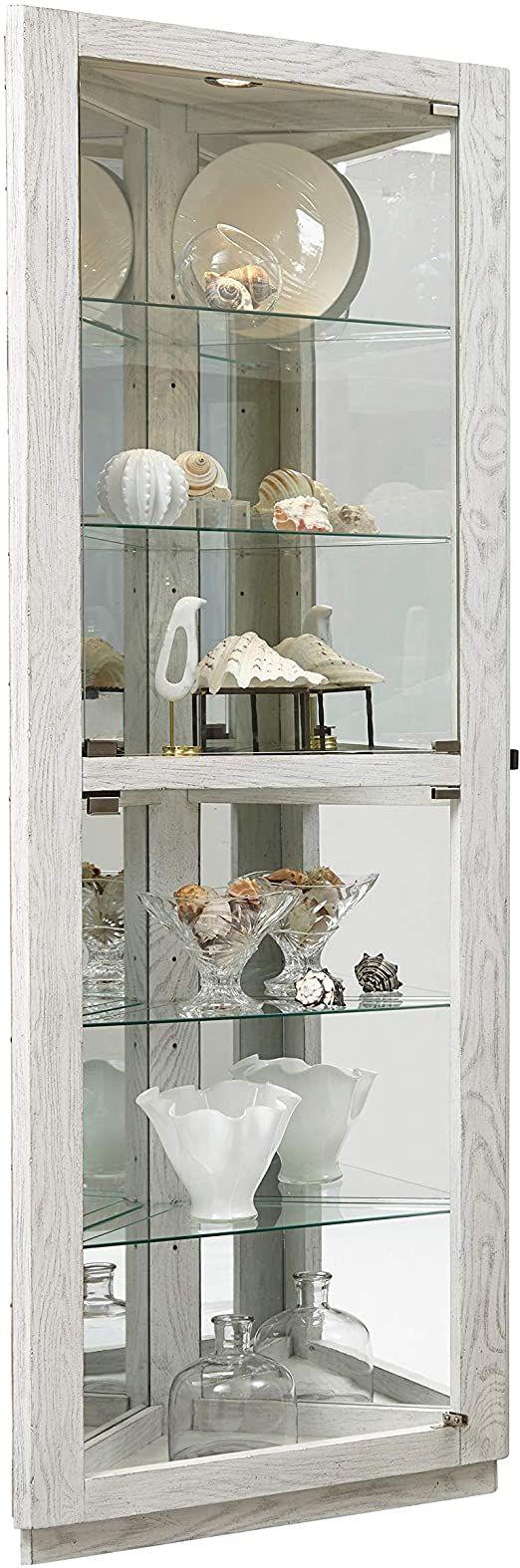 Antique White 5 Shelf Corner Cabinet Clear Grey Modern ... on Corner Sconce Shelf Cabinet id=50460
