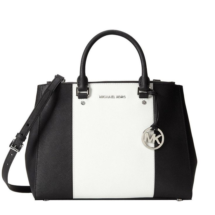 top handle bags: MICHAEL Michael Kors Women\u0027s Sutton Center Stripe Satchel,  Black/Optic White, One Size