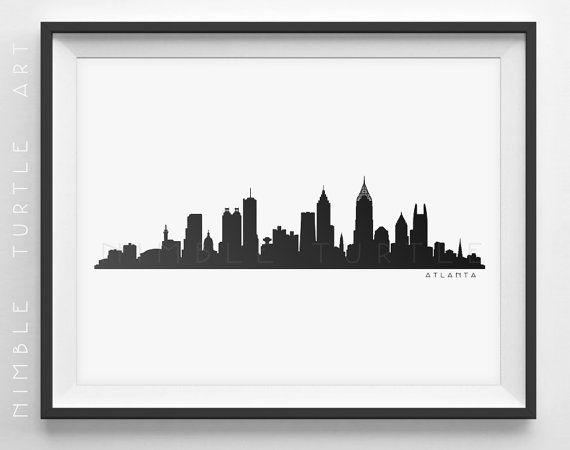 Atlanta Skyline Silhouette - Printable Download - PDF, PNG, SVG, EPS - Seattle Washington.  ~~ Instant Download ~~